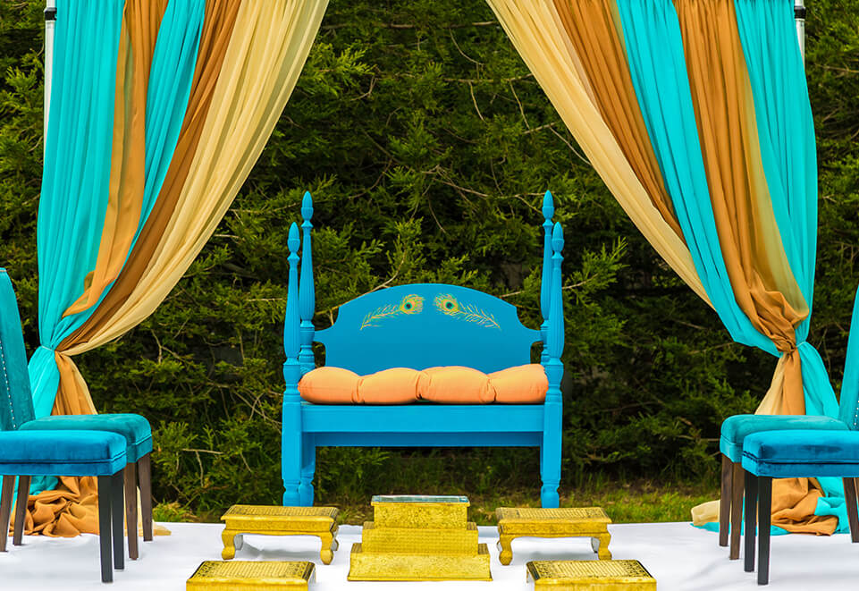 Peacock Blue Wooden Chairs with Draped Mandap