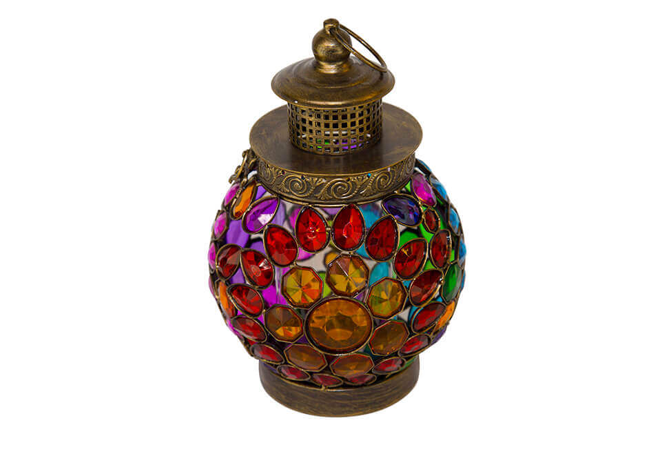 Brass Colored Round Lantern with Multicolored Jewels
