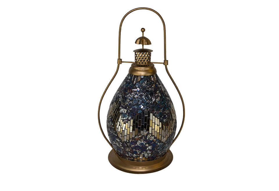 Brass Lantern with Silver, Blue and Gold Mosaic Design