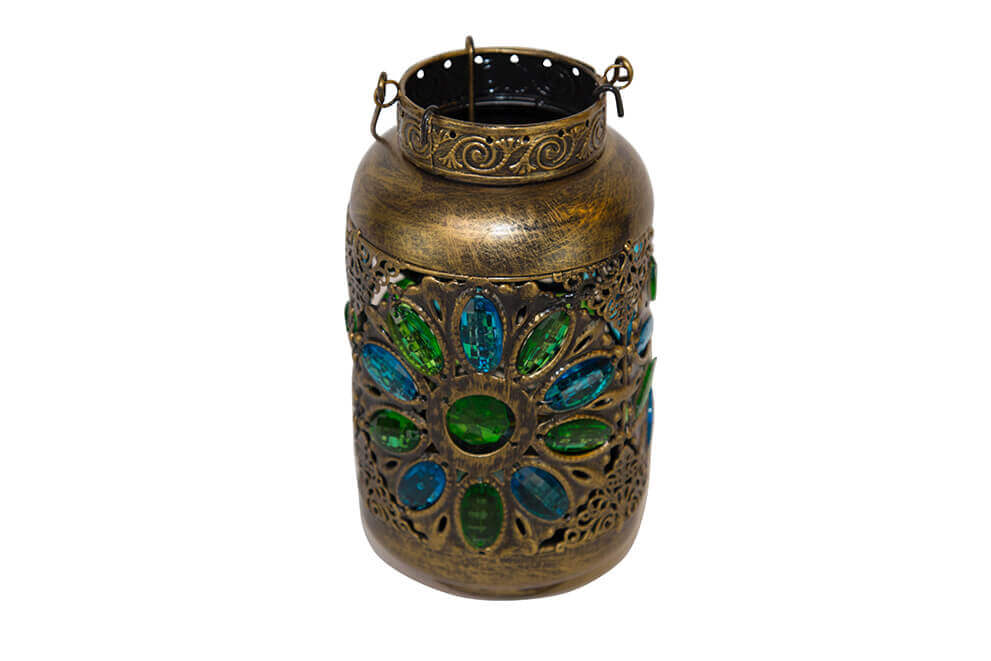 Brass Colored Metal Lantern with Blue and Green Jewels