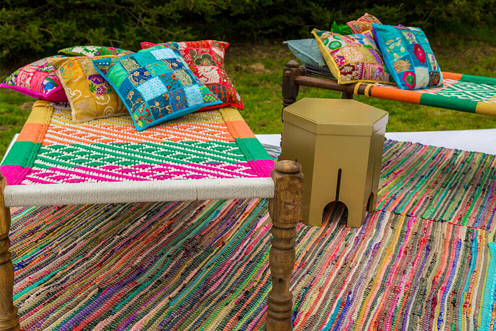 Colorful Indian Handwoven Wooded Charpai