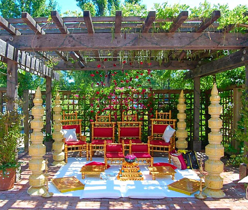 Copper and Red Sankheda Chairs with Gold Matka Pillars