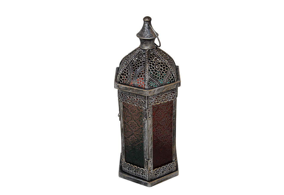 Dark Silver Colored Metal Lantern with Shaded Glass