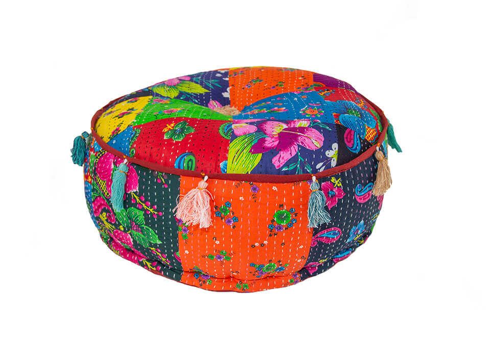 Floral Quilted Pouf