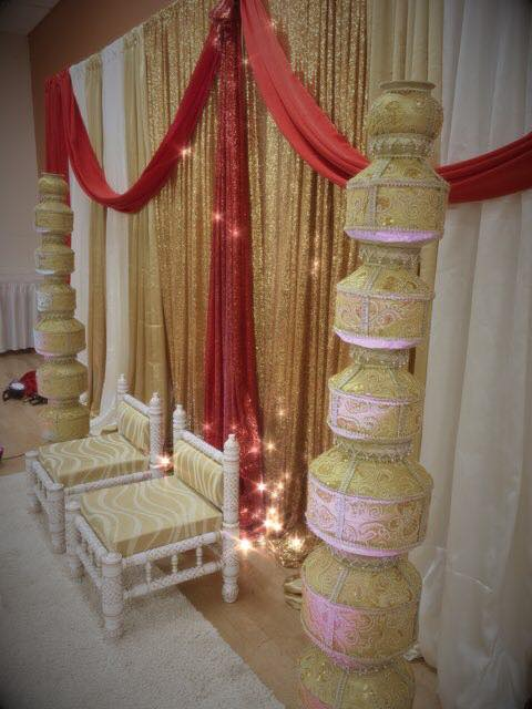 Gold and White Sankheda Chairs with Gold Match Pillars