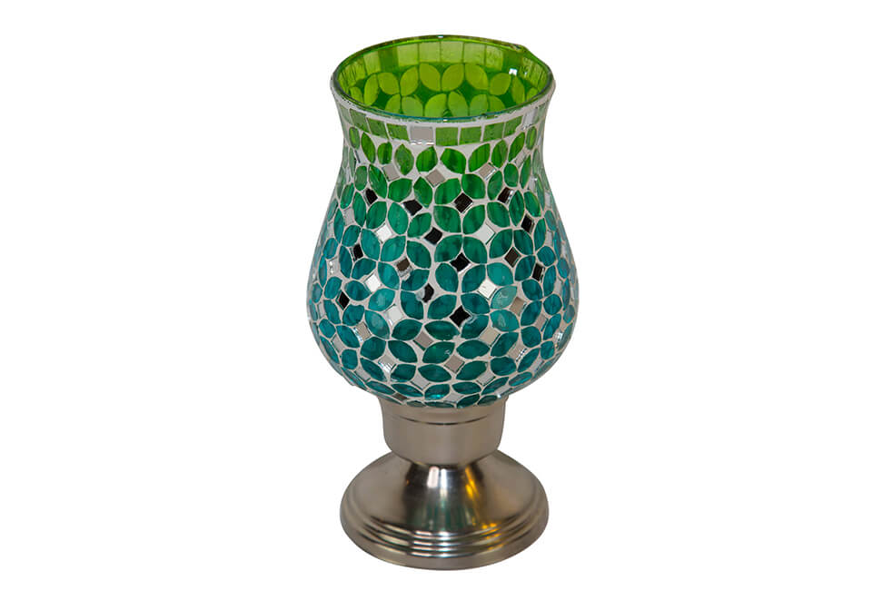 Green & Blue Mosaic Candle Holder