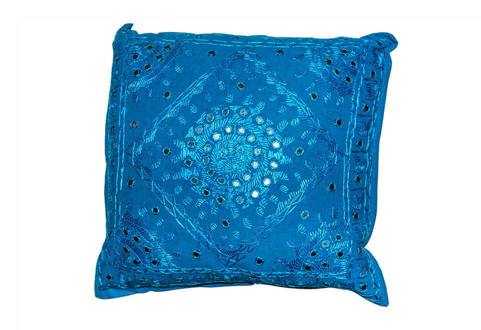 Square Blue Pillow with Circular Design