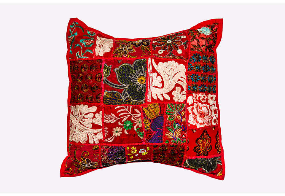 Light Red Quilted Pillow
