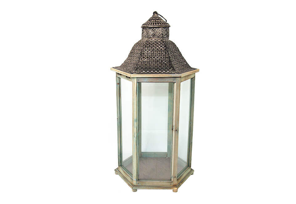 Metal and Wooden Lantern with Clear Glass