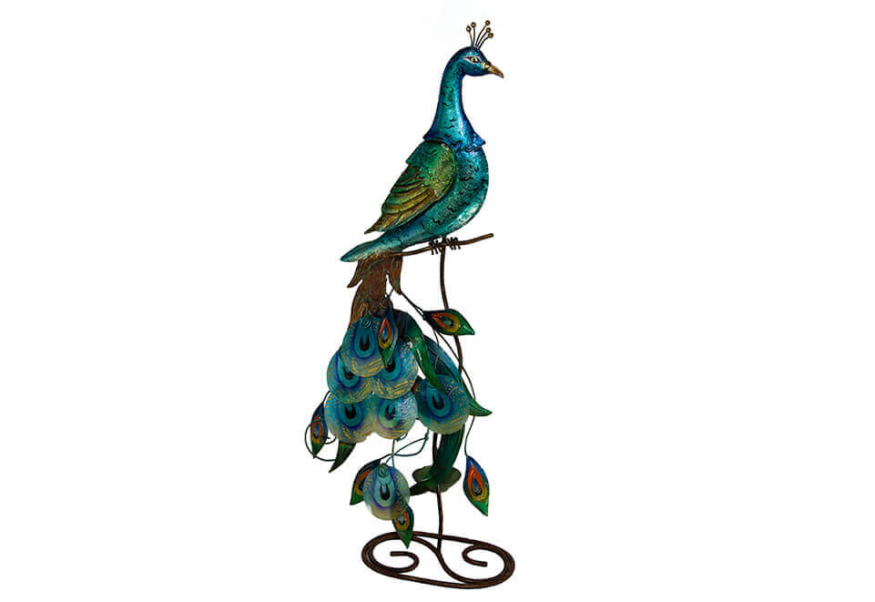 Blue Metal Peacock on Stand