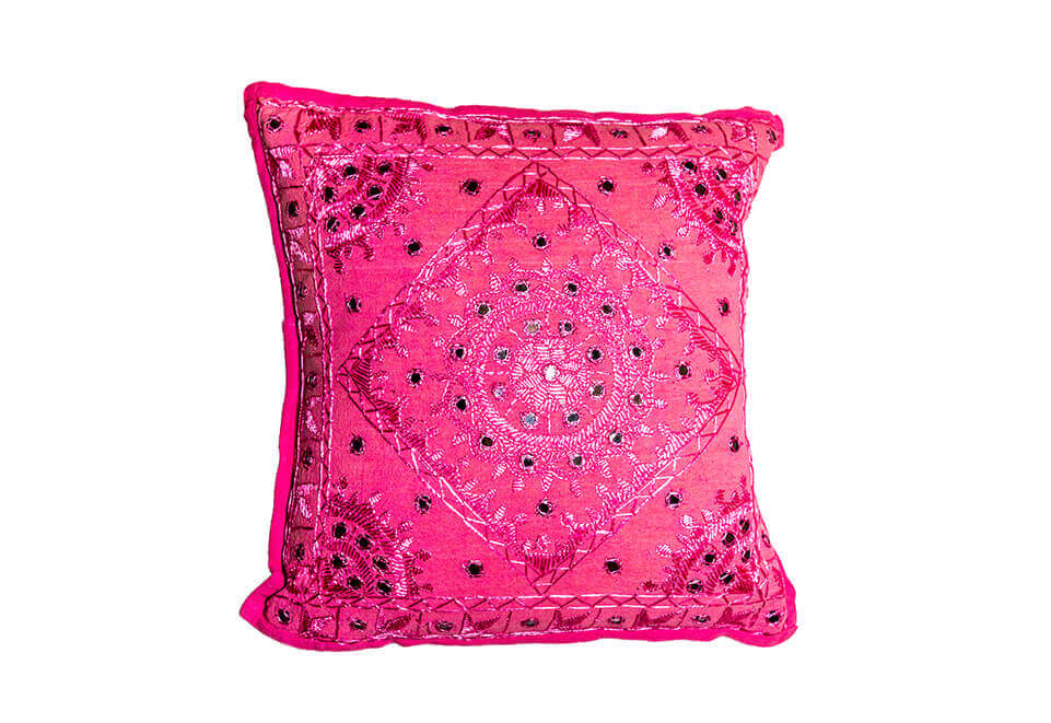 Pink Embroidered Pillow