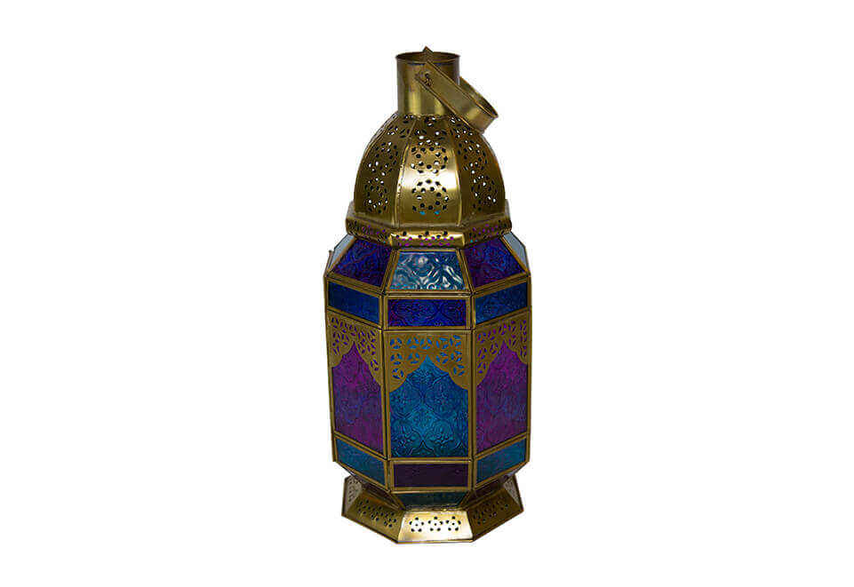 Polished Brass Lantern with Blue and Purple Windows