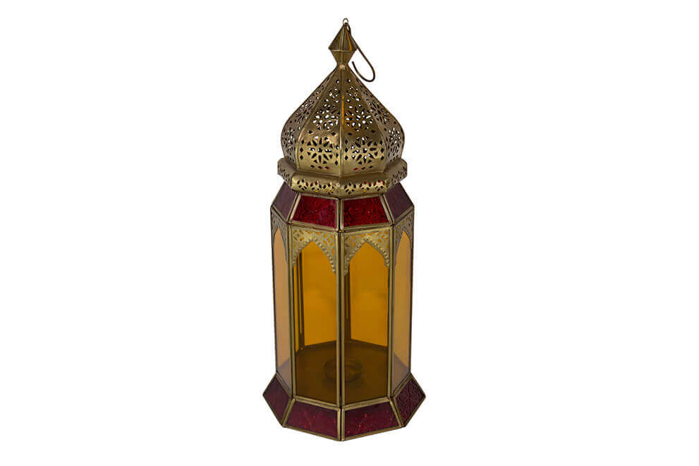 Soft Brass Lantern with Red and Orange Glass