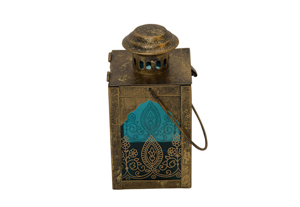 Square Brass Lantern with Clear and Blue Glass