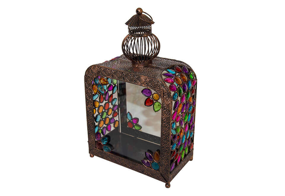 Square Framed Copper and Glass Lantern