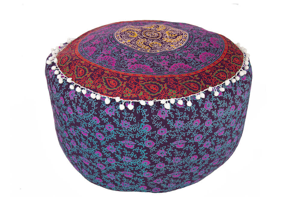 Tall Wide Harlequin Pouf