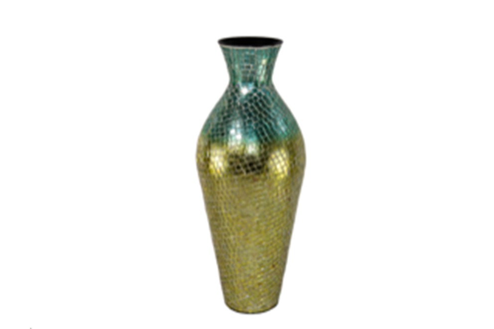 Teal & Gold Colored Mosaic Vase