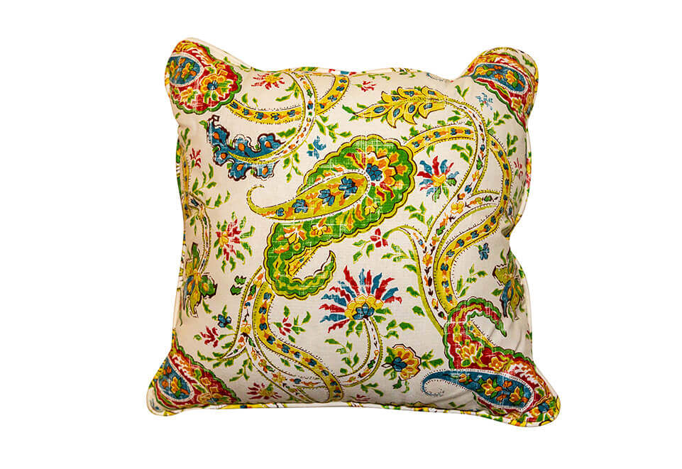 White and Yellow Paisley Pillow