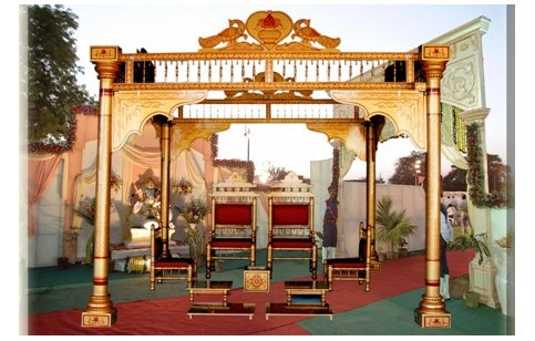 Wooden Copper Red Sankheda Wedding Mandap