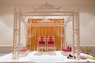Wooden Ivory, White and Gold Sankheda Wedding Mandap