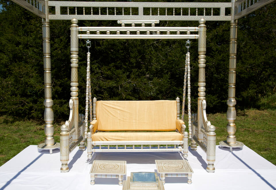 Wooden Gold & White Sankheda Swing
